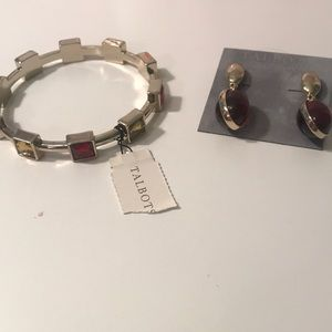 earrings and bracelet burgundy and gold Talbots